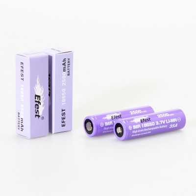 Аккумулятор 18650 Efest IMR, 38A, 2500 mAh